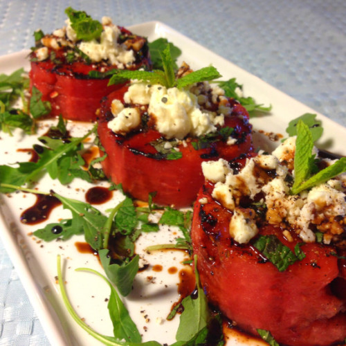 grilled watermellon with feta