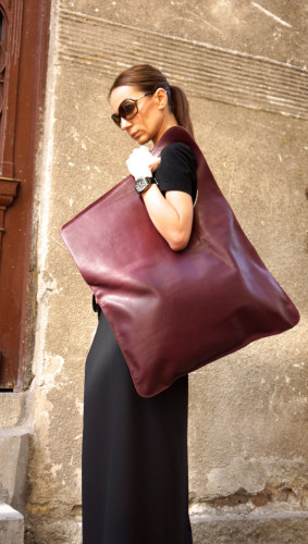 gebuine leather burgundy bag tote asymmetrical large bag
