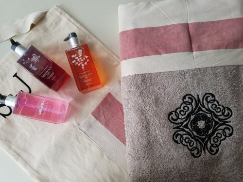 body wash and bath towels