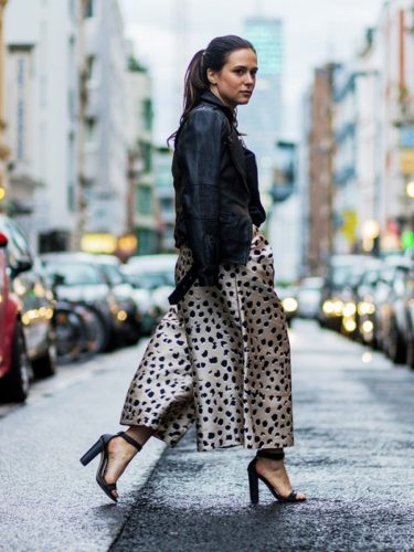 leopard print culotte and leather