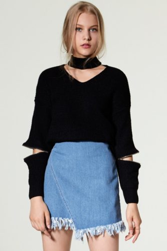 zipper-choker-and-denim-wrap-skirt